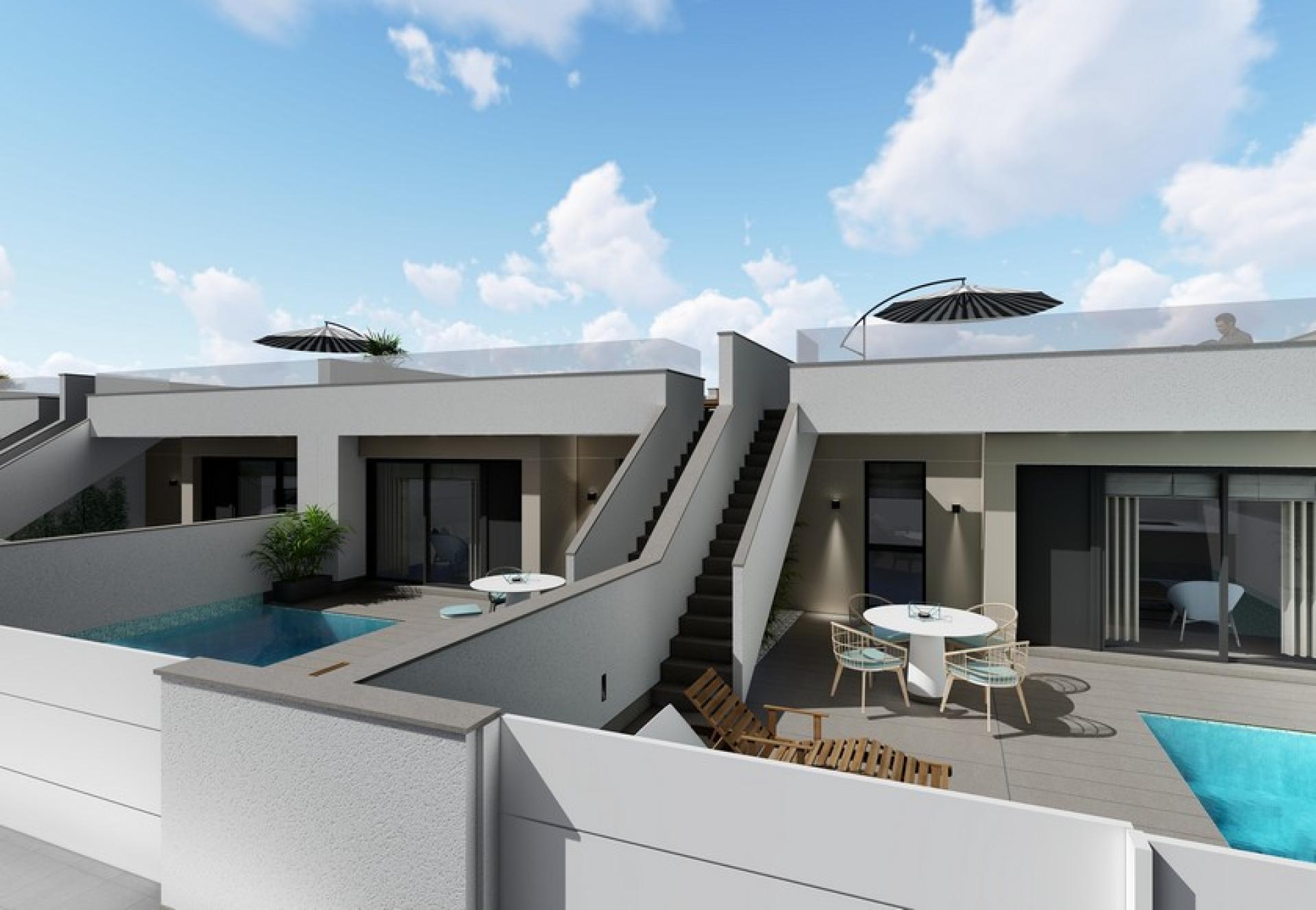 Gelijkvloerse villa met solarium te koop Pilar de la Horadada in Medvilla Spanje
