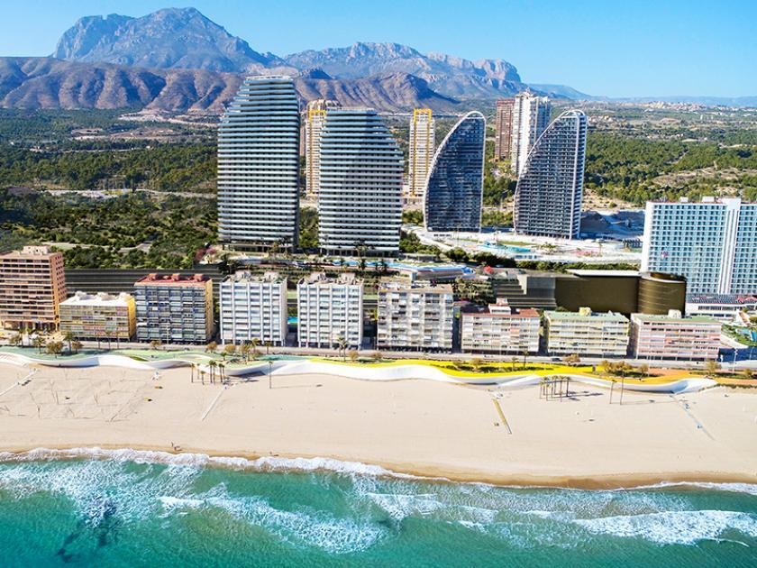 Appartementen aan zee op Playa Poniente Benidorm, Alicante in Medvilla Spanje