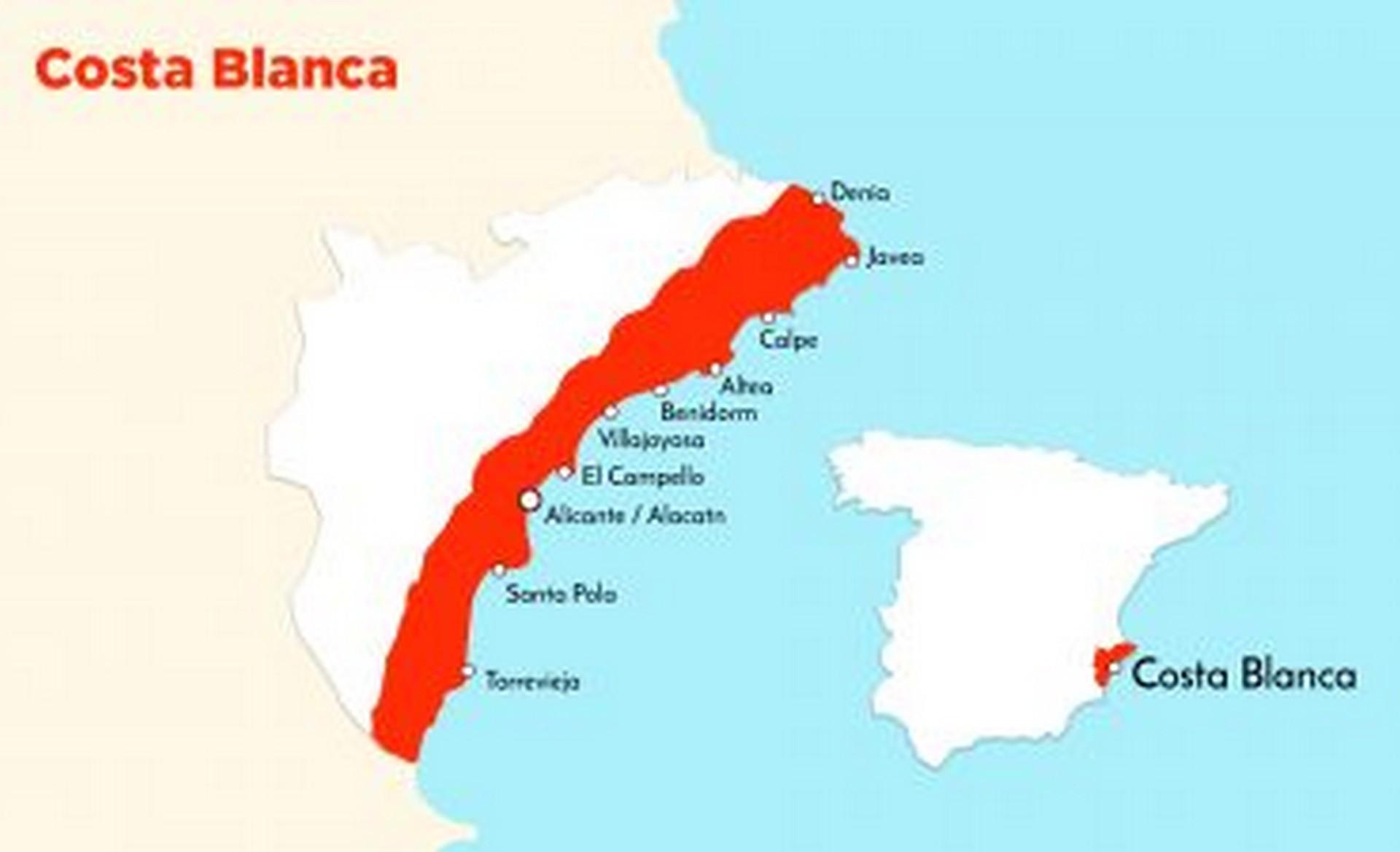 Costa Blanca kaart