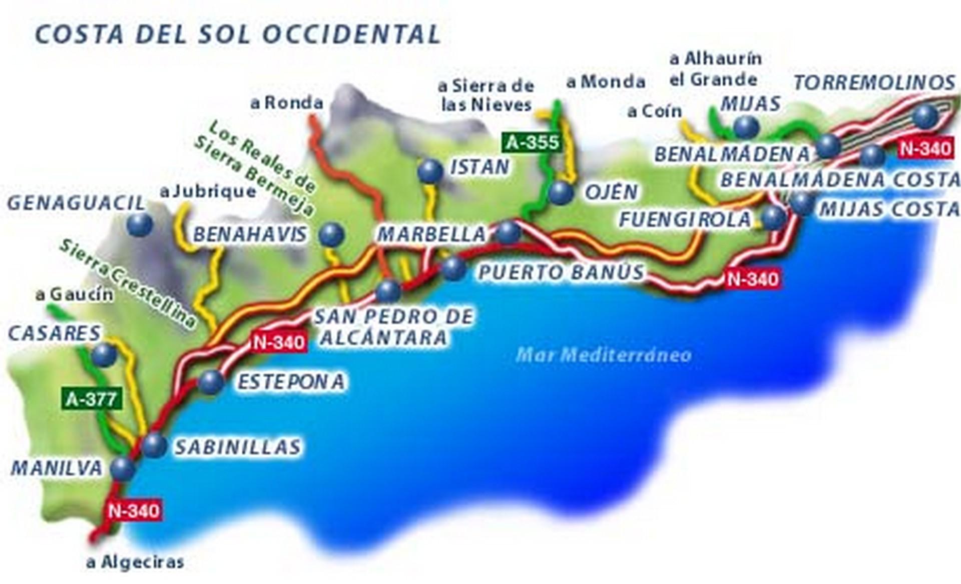 Costa del sol kaart